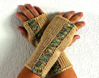 Knit Fingerless Gloves Beige Knit Accessories Warm Winter Gloves Cozy Gloves Cable Arm Warmers Fingerless Mittens Hand Warmers
