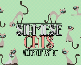 50%OFF - Siamese cats/Elegant cats/Clip art set/Cat illustration/Design elements/Printable illustration