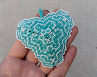 Turquoise Beaded Abstract Triangle - Miyuki Delica Beads - Netted Jewelry - Beadwork Pendant - Seed Bead Jewelry - Modern Beaded Necklace