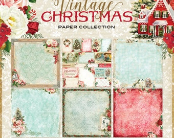 Blue Fern Vintage Christmas Collection  12 x 12 Scrapbook Paper Pad  Full Collection Pack 12 Sheets