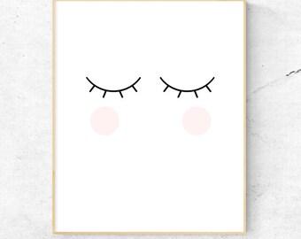 Blink Cheeks Eyelash Wall Art, Nursery Wall Art, Child's Room Wall Art, Lashes - Instant Download