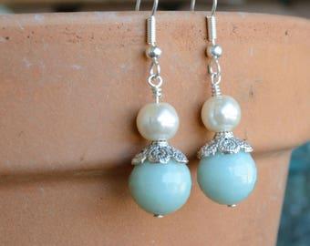 Swarovski Pearl Earrings, Aqua Dangle Earrings , Swarovski Pearl Dangle Earrings, Pearl Dangle Earrings, Aqua Earrings, Elegant Earrings