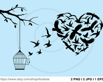 Heart with flying birds, tree and birdcage, illustration, drawing, digital art print, wall art, poster, EPS, vector, instant download