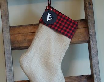 Plaid Burlap Christmas Stocking