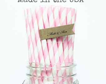 50 Paper Straws Made In USA Pink Vintage Baby Shower Rustic Wedding Cake Pop Sticks Princess Party Pink Lemonade Party Supplies Paper Straws