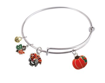65 mm, Expandable Bangle bracelet with Thanksgiving Turkey, Pumpkin, Maple Leaf and  Small Heart Charm, Qty: 1