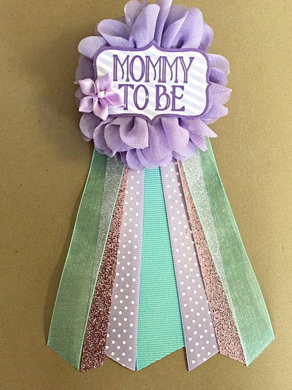 Purple Teal Aqua Baby Shower Corsage Pin Baby Shower Pin Mommy
