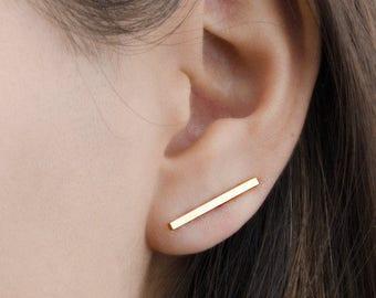 Thick Bar Ear Climbers, Sterling Silver Gold Plated, Bar Line Earrings, Stick Pin Earrings, Minimal Cuff Earrings, Gift, Lunaijewelry ECF013
