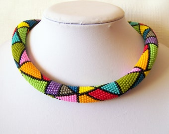 Colorful Bright Geometric necklace - Bead crochet rope necklace - Beadwork necklace - multi color necklace - modern necklace - art jewelry