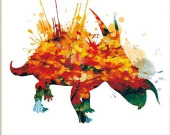 Watercolor dinosaur art print poster art print