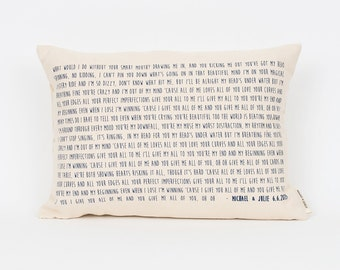 Song Lyric Pillow, 2nd Anniversary Gift, Song Lyrics Gift, Wedding Gift Pillow, Anniversary Gift Cotton, Mothers Day Pillow, Song Quotes