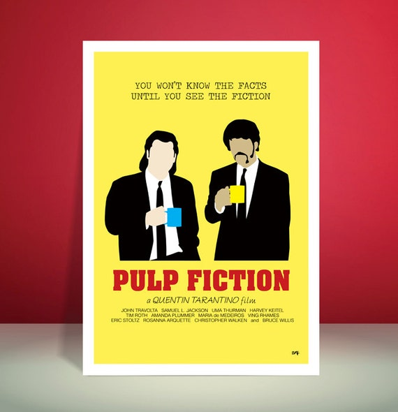 Pulp Fiction // Gourmet Coffee Scene // Minimalist Movie Poster // Unique Art Print