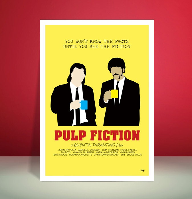 Pulp Fiction Gourmet Coffee Scene Minimalist Movie Poster Unique Art Print