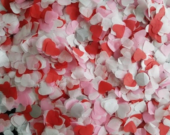 Red-Pink-White heart and silver minimal circle confetti / Throwing and table decor confetti Wedding /Birthday and more decor