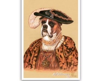 Boxer Art Print - the Duke - Royal Dog Art Print - Classical Pet Art - Royal Dog Portraits by Animal Century