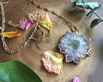 Purple Stalactite Gold Necklace