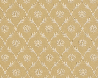 Gold Floral Trellis Jacquard Woven Upholstery Fabric By The Yard   Pattern # B644