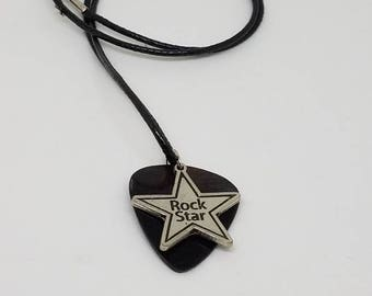 Guitar Pick Necklace from Vinyl Record - Rock Star