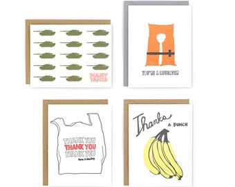 Set of 4 Letterpress Thank You Cards