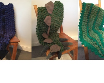Crochet Tail Blanket Bundle! Crochet Dinosaur, Dragon Tail and crocodile Blanket Patterns, customisable sizing from baby to adult