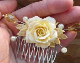 rose comb Floral comb rose hair pin ivory rose champagne rose polymer clay jewelry gift for her flower jewelry Wedding hair comb flower comb