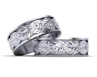mens wedding band white gold 14k wedding ring leaf design