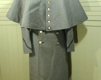1940's Capelet Military Wool Coat West Point Army Cadet Vintage Full Length Double Breasted Metal Buttons Cape Uniform Steampunk Size Small