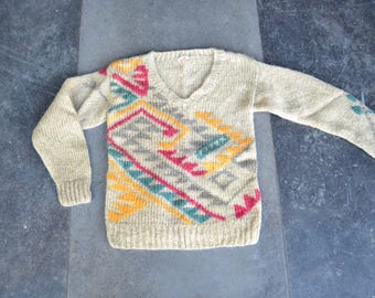 Pullover Sweater | Tribal sweater | Pattern sweater | Handknit sweater | 70s wool | 90s grunge | Fair Isle Sweater | autumn winter sweater