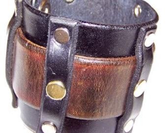 Item 103109 Bold Belted Leather Wrist Cuff Bracelet Wristband
