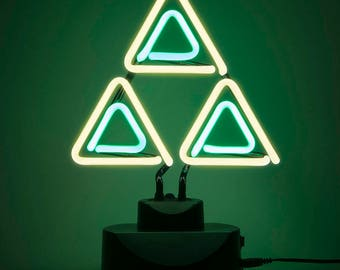 Zelda Tri-Force Neon Light  Gaming Decor. Fanfare + Videogame gift / geeky gift. Breath of the Wild, Ocarina of Time Triforce Nintendo