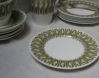 Six Lovely Green and White Shelley Apollo Vintage 1950s Side Plates