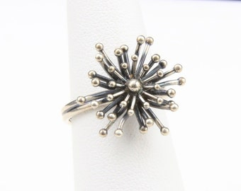 Vintage Beau Sterling Silver Modernist Starburst Ring Star Burst Atomic Adjustable Size