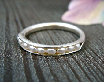petite pearl stack ring .. sterling silver
