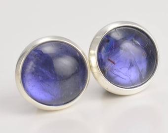 iolite 8mm sterling silver stud earrings