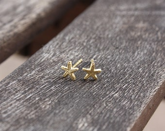 Tiny Starfish Stud Earrings, 14 Karat Gold Plated over Sterling Silver, Made to Order
