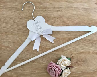 Mother of the Bride white wedding hanger with ribbon
