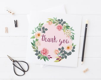 Floral Rose Thank You Card Set 4, 8, 12, 24