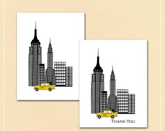 New York City Taxi Cards, New York Skyline, Yellow Taxi, Checkered Taxi, Stylized Skyline, Modern Black and White, Taxi Cab, Empire State