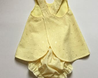 Reversible Baby Pinafore Dress, Matching Bloomers, Baby Dress, Size 6 Months, Easter Dress