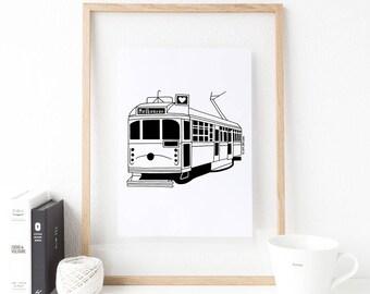 Melbourne Tram illustrated A3 screen printed artwork, Tram Wall Art, Tram Gift