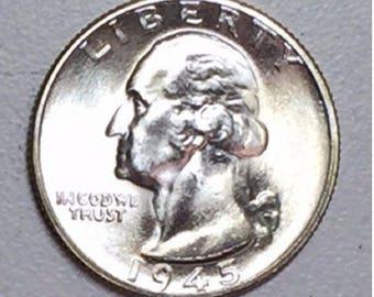 LOT(1 Coin) 1945 D GEM BU washington silver quarter from original roll sharp
