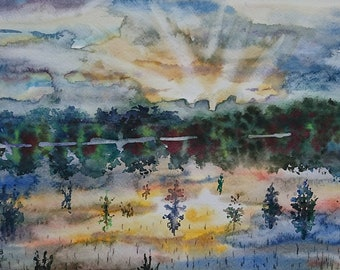 Original Art Painting Watercolor Landscape Home Decor Sunset Lake Landscape Watercolor paintings Wall Decor Art Painting Watercolor