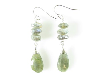 Labradorite Earrings, Long Dangle, Sterling Silver & Labradorite Jewelry