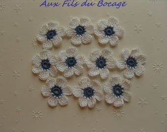 Crocheted appliques, set of 10, white and blue flowers