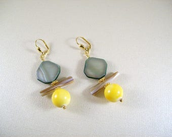 Sun & Earth earrings with green, pierced or clip on Mother of Pearl shell