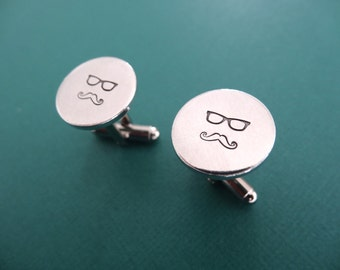 Glasses Cufflinks - Mustache Cufflinks - Personalized Cufflink - Gifts for Him, Men, Groom, Dad, Fathers Day