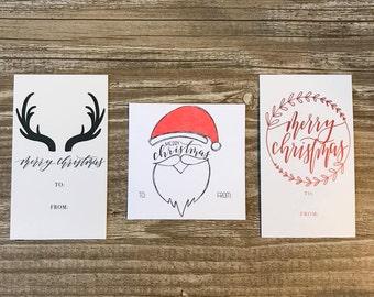 12 assorted christmas tag   christmas tags   christmas   merry christmas   gift tags   antlers   santa   metallic