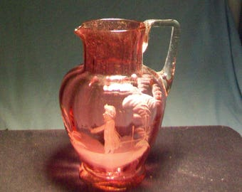 Vintage Mary Gregory Cranberry Pitcher Applied Handle