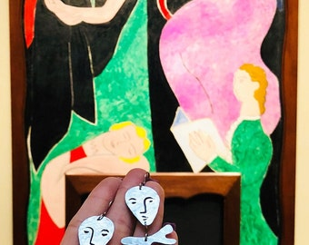 Henri Matisse inspired earrings, surreal face earrings
