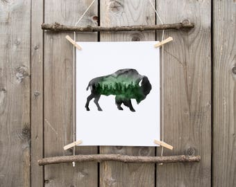 buffalo wall art, buffalo ,watercolor print, buffalo print ,bison art, bison watercolor, woodland watercolor, woodland animal, watercolor
